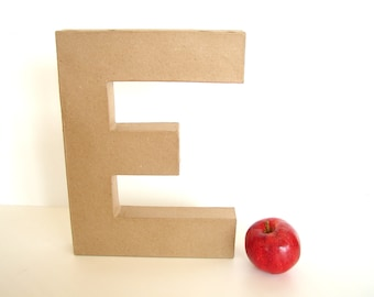 "Paper Mache Letter E (12"" tall) - Ready to Decorate Blank Letter, Home Decor, and more"