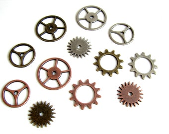 Metal Gears and Sprockets (Set of 12) in Silver, Brass, and Copper - Altered Art, Steampunk, and more