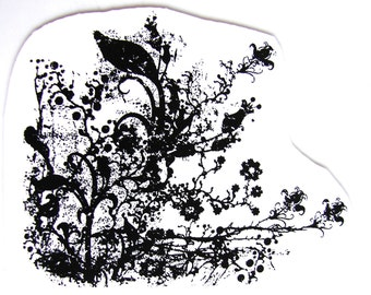 Flowers and Vines Corner Flourish Stamp (Rubber Cling Mount Stamp) - Perfect for paper crafts, fabric, and more