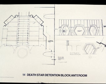 Vintage Star Wars Blueprint for Death Star Detention Block/Anteroom (14) - Collectible, Home Decor, altered art and more