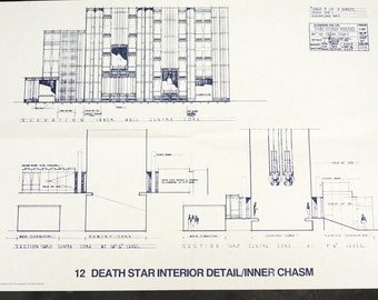 Vintage Star Wars Blueprint for Death Star Interior Detail / Inner Chasm (12) - Collectible, Home Decor, altered art and more