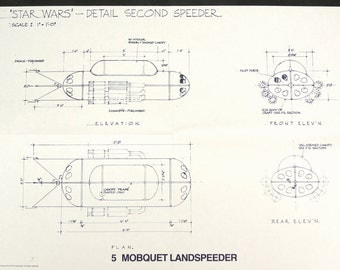 Vintage Star Wars Blueprint for Mobquet Landspeeder (5) - Collectible, Home Decor, altered art and more