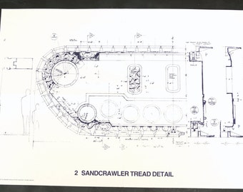 Vintage Star Wars Blueprint for Sandcrawler Tread Detail (2) - Collectible, Home Decor, altered art and more