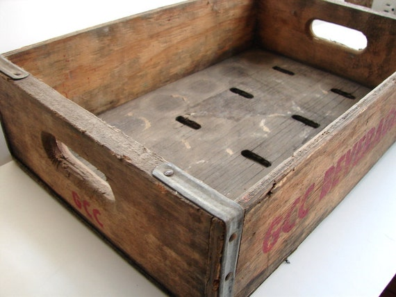 Vintage Wooden Soda Crate, GCC Beverages Inc. - Industrial Decor, Storage, and More