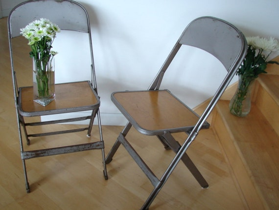 Vintage Metal Steel And Wood Folding Chairs Circa 1940s