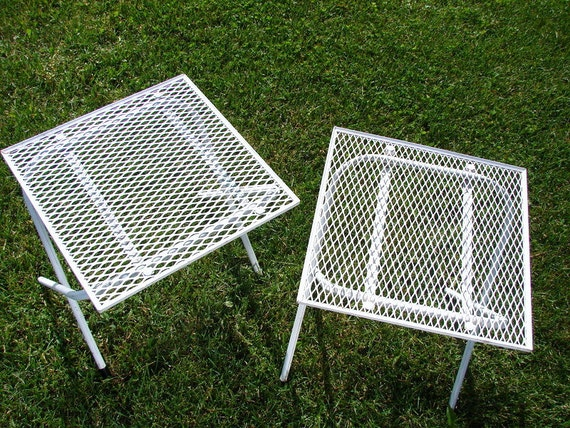 Vintage Chippy White Metal Patio Table Folding Table Great