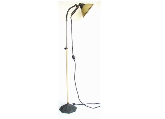 Vintage Zoalite Floor Lamp with Black Cast Iron Base, Adjustable Height and Gooseneck (circa.1920s - Unique Industrial Decor