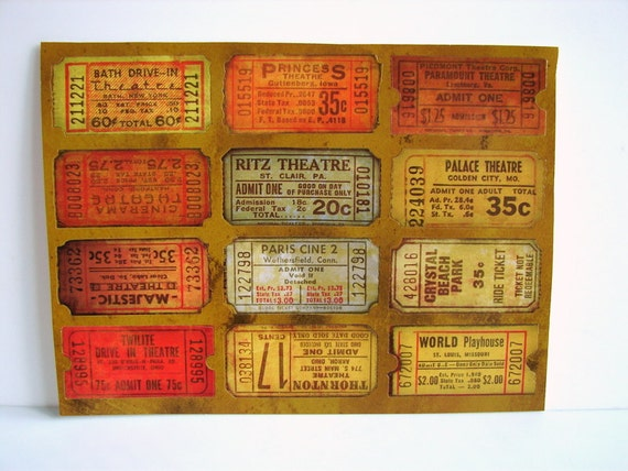 Old-Fashioned Looking Ticket Stickers (Set of 12) - Use for paper projects, cards, altered art, and more