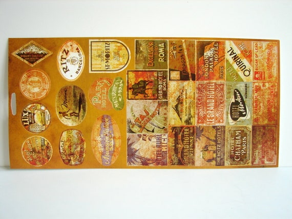 Old-Fashioned Looking Travel Stickers (Set of 26) - Use for paper projects, cards, altered art, and more