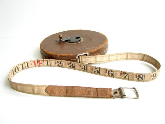 Vintage Lufkin Rule Co. Leather Encased 100 Foot Linen Tape Measure (Large) - Home Decor, Altered Art, and more