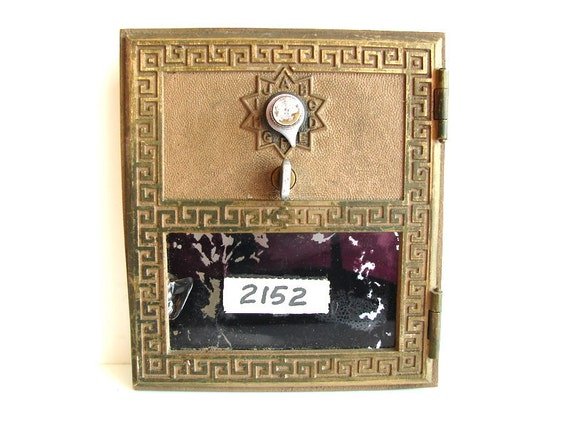 Vintage Large Brass Post Office Box / Mailbox Door and Frame from 1962 - Keyless Lock Co. (No. 2152)