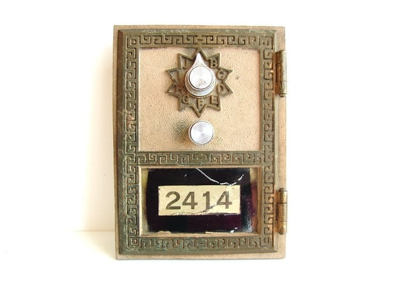 Vintage Brass Post Office Box / Mailbox Door and Frame from 1964 - Keyless Lock Co. (No. 2414)