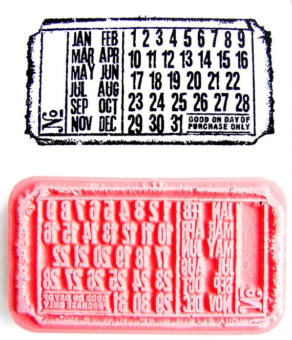 Blank Calendar Stamp : Perpetual calendar ticket stamp rubber cling mounted
