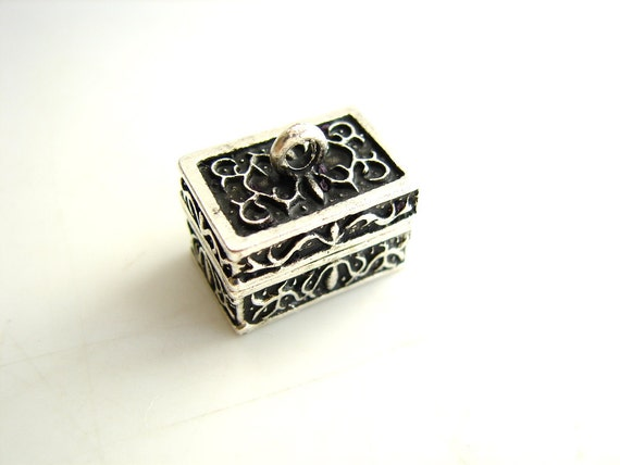 Prayer Box Charm / Pendant (Rectangle) in Antique Silver Finish - Create your own bracelet or necklace