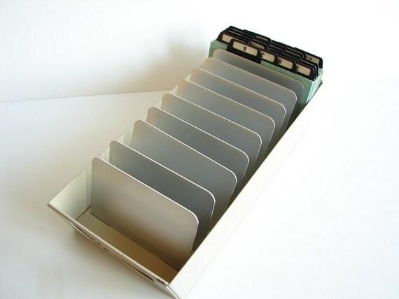 Vintage Industrial Metal Card Posting Tray Index Card File