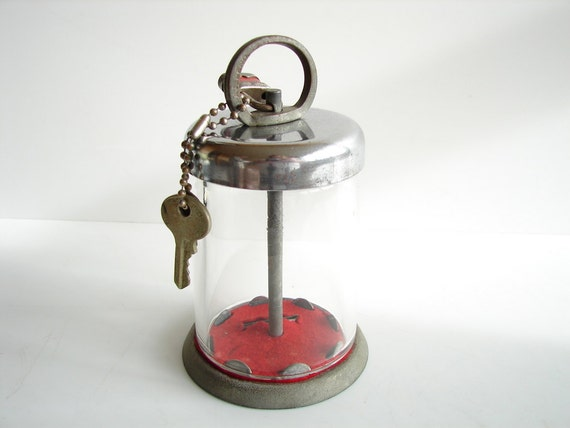 Vintage Unique Glass And Metal Coin Bank With Lock By