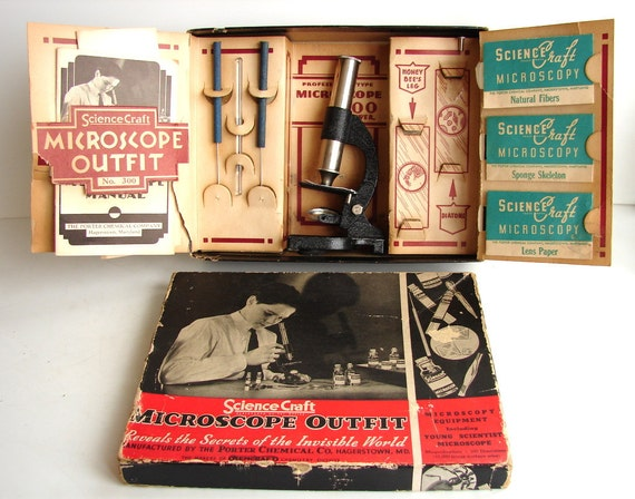 Vintage ScienceCraft Microscope Outfit No. 300 (from 1936) - Collectible, Photo Prop, and more