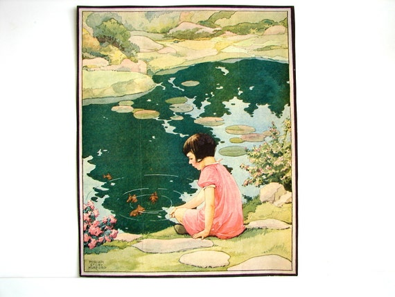 "Vintage Woman's World Magazine Cover Art ""Koi Pond"" by Miriam Story Hurford (1930s) - Collectible, Ephemera, Altered Art and more"