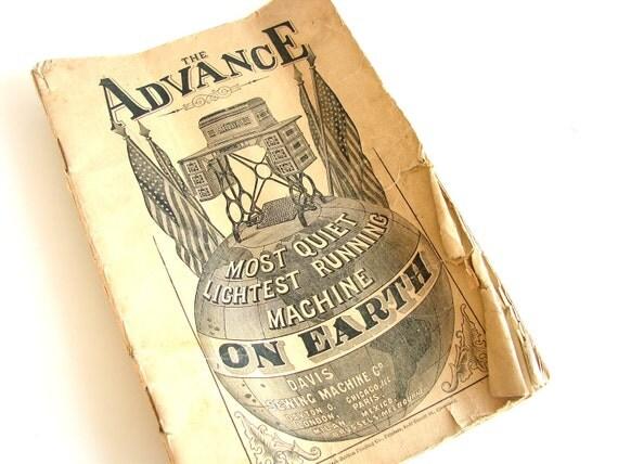 Vintage / Antique Advance Sewing Machine Instruction Manual (circa. 1880s) - Collectible, Ephemera