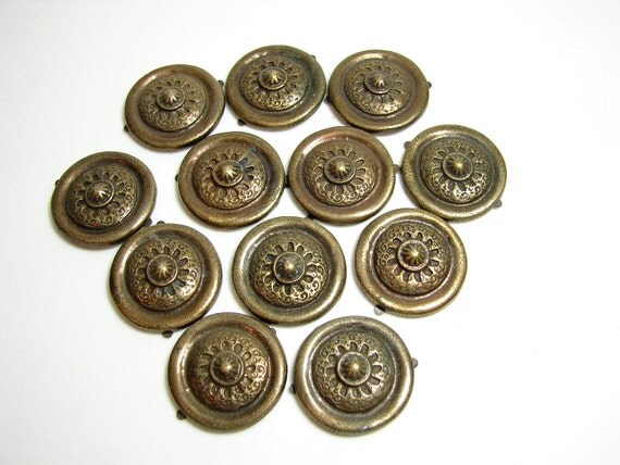 Vintage Decorative Metal Medallions with Paper Fastener-Type Clips (set of 12) - Altered Art, Mixed Media, Journals, and more