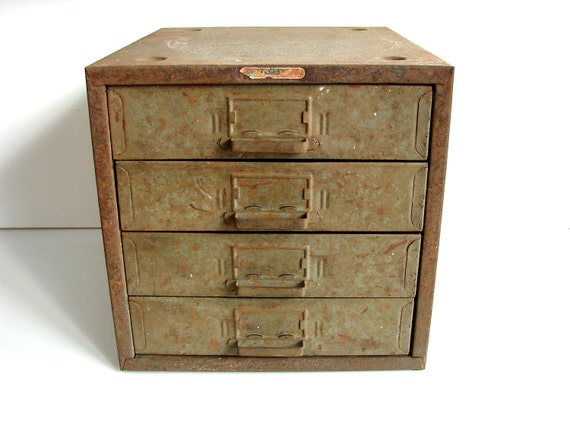 Vintage Industrial Metal Parts Drawer Unit with 4 Drawers - Industrial Decor, Storage, and more