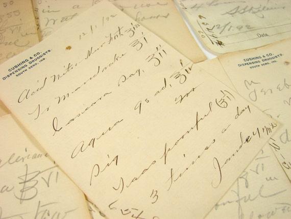 Vintage / Antique Handwritten Medical Prescriptions (N3) from 1892 (Set of 8) - Paper ephemera, collectibles, decor