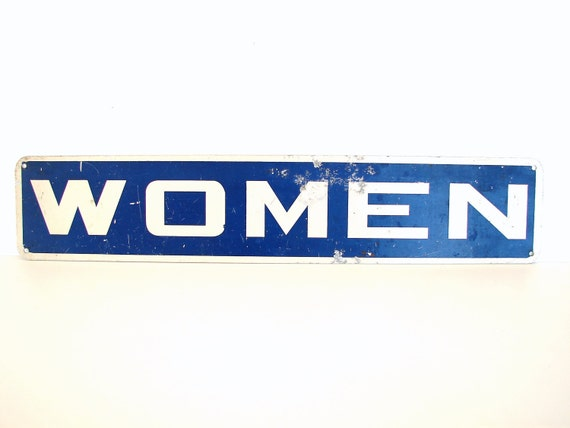 Vintage Industrial Metal Women Sign / Restroom Sign - Collectible, Home Decor, and more