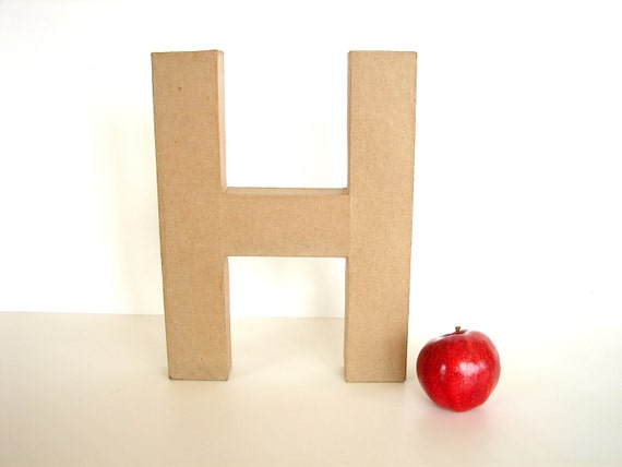 "Paper Mache Letter H (12"" tall) - Ready to Decorate Blank Letter, Home Decor, and more"