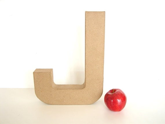 "Paper Mache Letter J (12"" tall) - Ready to Decorate Blank Letter, Home Decor, and more"