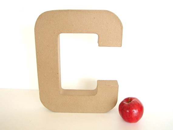 """Paper Mache Letter C (12"""" tall) - Ready to Decorate Blank Letter, Home Decor, and more"""