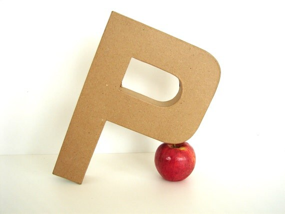 """Paper Mache Letter P (12"""" tall) - Ready to Decorate Blank Letter, Home Decor, and more"""