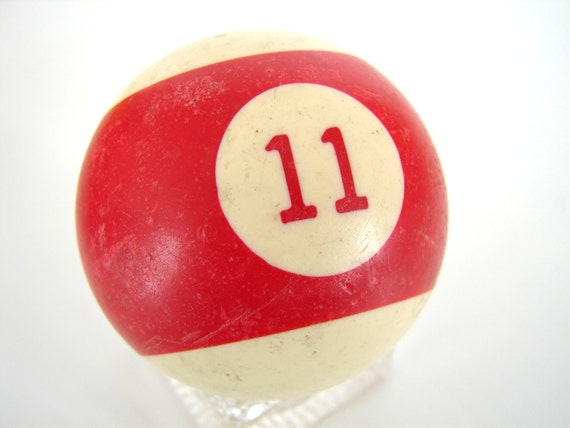 """Vintage Red Striped 11 Pool Ball / Billiard Ball with Red Number, Standard Regulation Size (2-1/4"""")"""