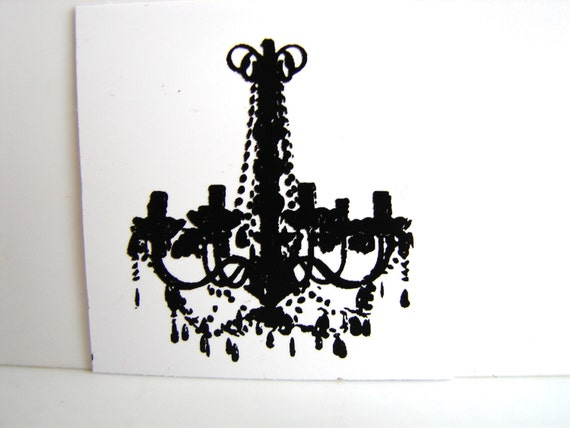 Fancy French Chandelier Stamp (Small Rubber Cling Mount Stamp) - Perfect for paper crafts, fabric, and more