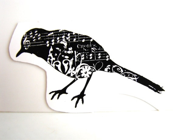 Bird Stamp / Crow / Black  Bird Stamp (Rubber Cling Mount Stamp) - Perfect for paper crafts, fabric, and more
