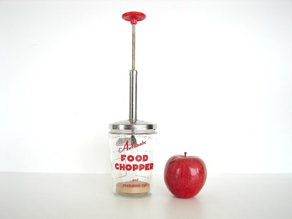 Vintage Automatic Food Chopper and Measuring Cup - Retro kitchen decor
