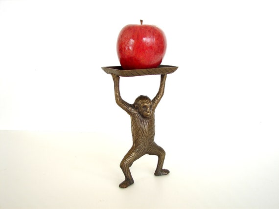 Vintage / Antique Monkey Tray in Cast Brass - Perfect as a Card Holder, Jewelry Holder and more