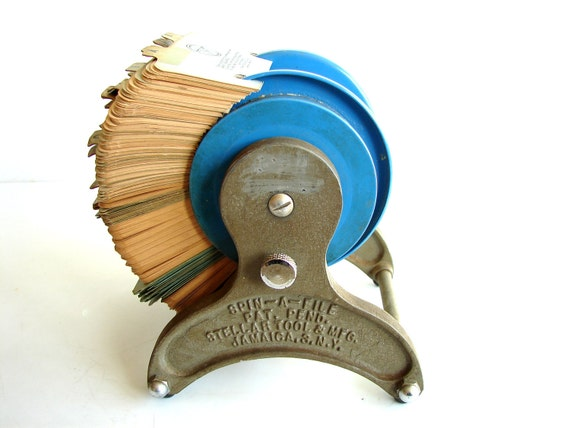 Vintage Industrial Metal Spinning Card File / Rolodex Card File (c1940s) - Industrial Decor, Storage, and more