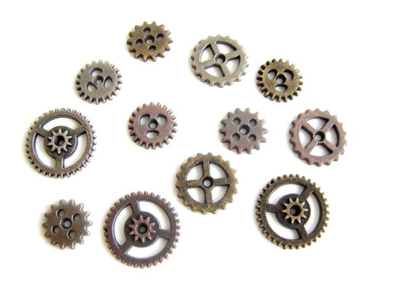 Metal Mini Gears (Set of 12) in Silver, Brass, and Copper - Altered Art, Steampunk, and more
