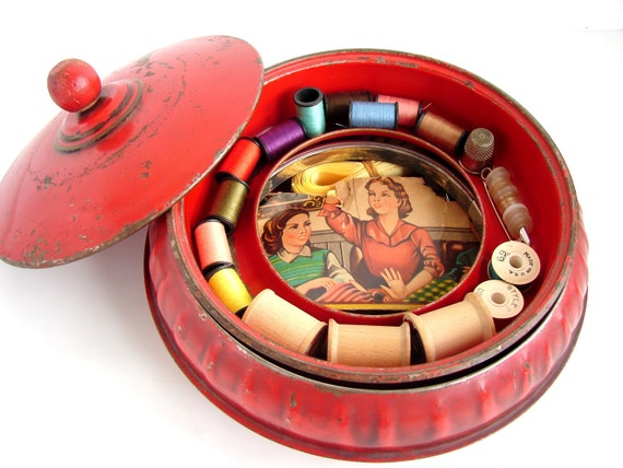 Vintage Round Metal Sewing Tin with Vintage Sewing Notions and Supplies, 3 Piece Sewing Notion Storage Box (circa. 1940s)