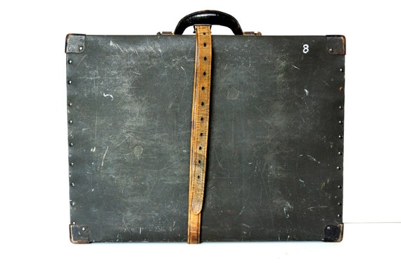 """Vintage Black Shipping Box with Leather Strap (Large, 21"""") - Industrial Home Decor, Unique Storage Box, and more"""