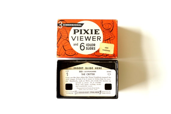 Vintage Pixie Viewer and 6 Color Slides (Cow Punching) by Stori-Views (c.1950s) - Collectible, Vintage Toy, Home Decor