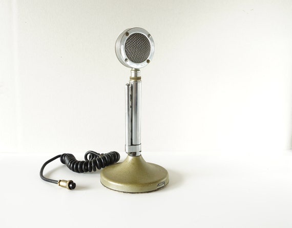 Vintage Astatic Microphone, Chrome and Metal (circa.1933) - Industrial Decor, Man Cave, Home Decor