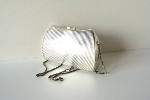 Vintage Carla Marchi Silvertone Metal Hard Case Evening Bag / Purse with Chain - Hard to find