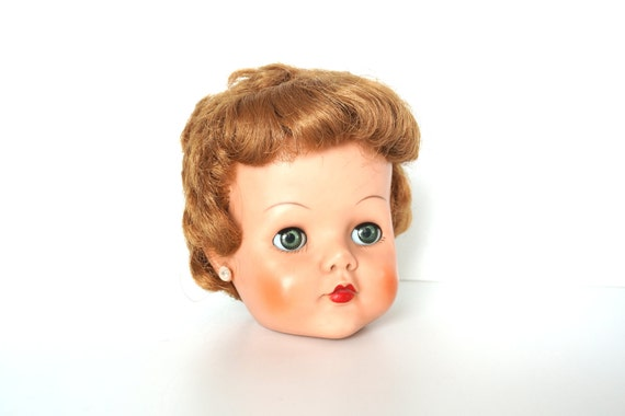 Vintage Sleepy Eye Bride Doll Head with Auburn Hair, Blue Eyes and Lashes - Collectible, Quirky Home Decor, Altered Art Supply