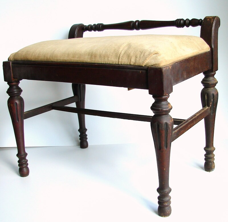 vintage antique wood upholstered vanity stool bench 87968