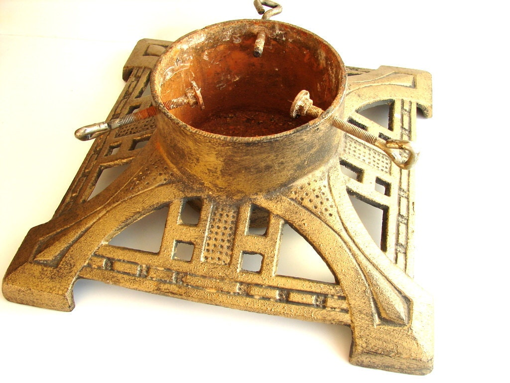 Antique Christmas Tree Stand Decorations : Vintage cast iron christmas tree stand holiday decor and