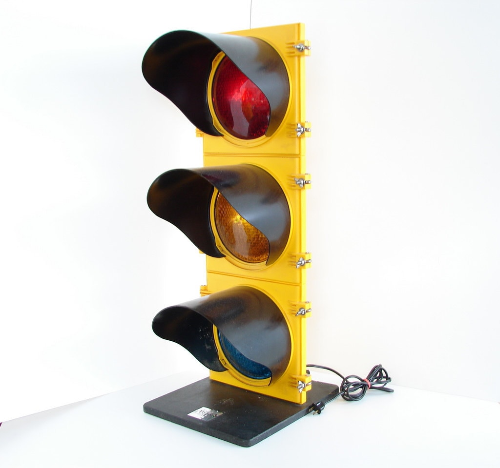 Vintage Traffic Light Signal Rewired For Home Use By