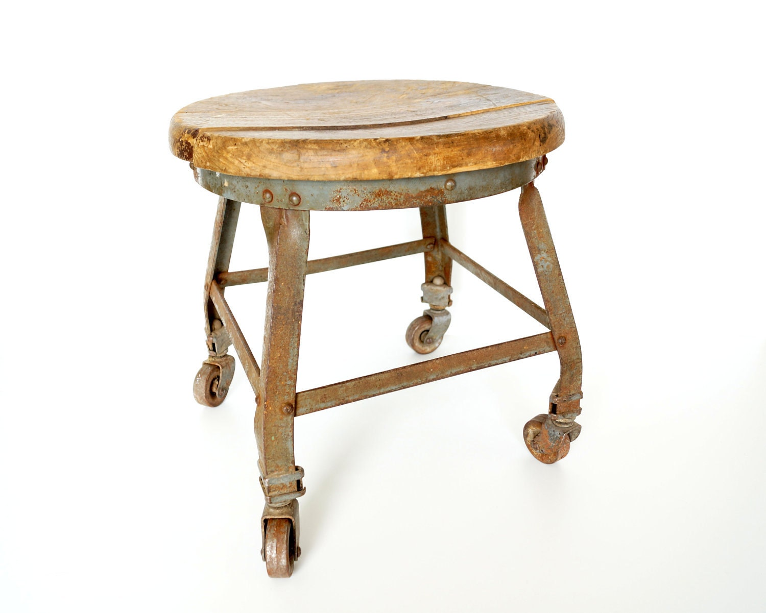Antique Vintage Wood and Metal Stool on Casters Rustic