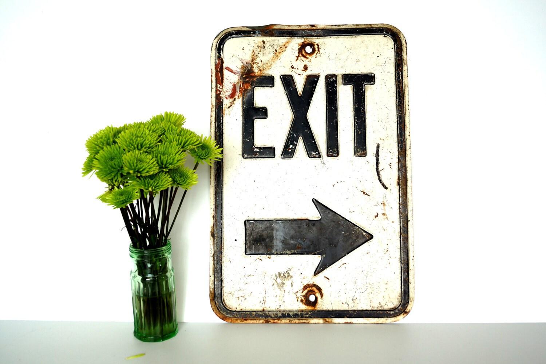 Vintage Industrial Metal Exit Sign With Arrow Industrial