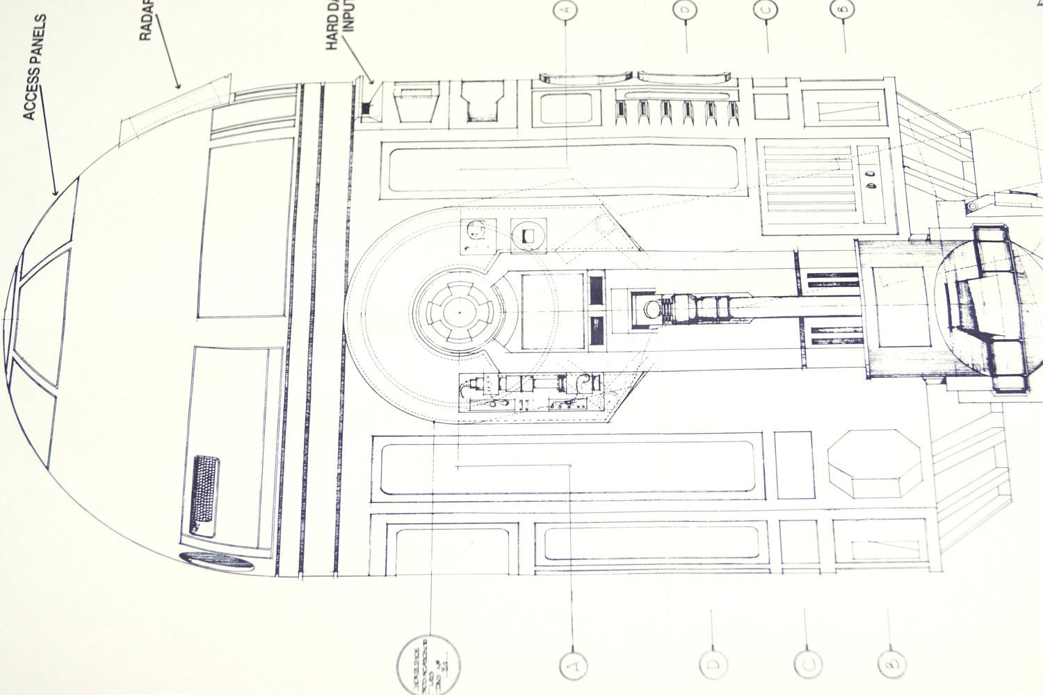 Vintage Star Wars Blueprint For R2 D2 Side Elevation 1